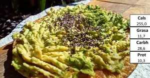 Chickpea pancake with avocado and chia